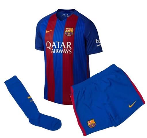 size 40 622df 50b1a Barcelona Kids Home Football Kit 2016-17