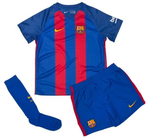 size 40 d1846 a348f Barcelona Kids Home Football Kit 2016-17
