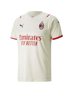 Front of the AC Milan 21-22 Away Shirt. Pale Beige with red sponsor and stripes. Black Puma logos and woven AC Milan badge. Subtle striped pattern.