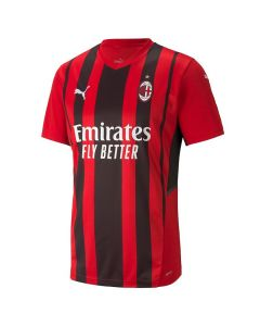 Front view of the AC Milan Home Jersey for 2021/22 with black and red stripes and woven accents