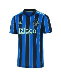 Ajax 21-22 Away kids shirt. Blue and black vertical stripes with teal outline and accents.