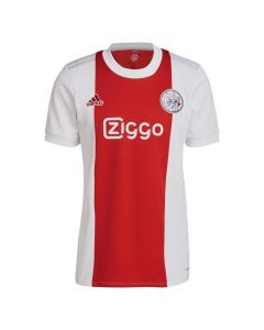 Front view of the Ajax 21-22 kids home shirt. White with red stripe. Retro crest.