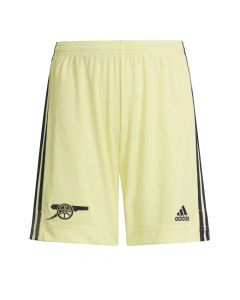 Front of the Arsenal 21-22 away adults shorts. Yellow bottoms with navy Adidas stripes down the sides. Woven Cannon emblem on the right leg and Adidas badge on the left, both navy.