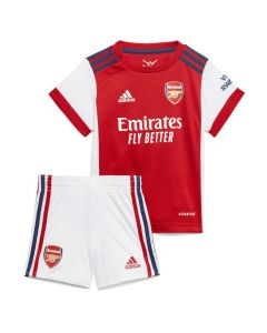 Arsenal baby home kit 21-22. Arsenal infants shirt red with white sleeves and accents. Accompanied by the Arsenal little boys white shorts with navy and red accents.
