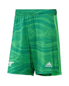 Front view of the Arsenal kids home goalie shorts 21-22. Tonal green swirl pattern with white woven accents.