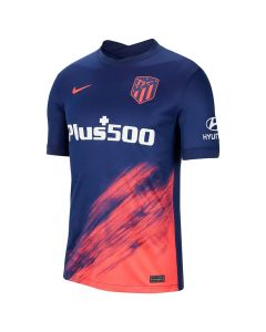 Front of the Atletico Madrid 21-22 Kids Away Shirt. Navy with pink and white accents.