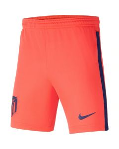 Front view of the Atletico Madrid 21-22 away shorts. Bright crimson base with navy crest, swoosh and side stripe.