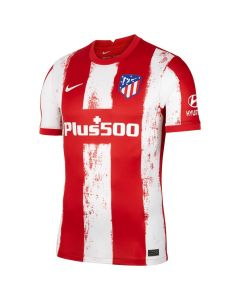 Front view of the Atletico Madrid 21-22 Home Shirt. Red with white paint stroke stripes. White printed sponsors and Nike Swoosh with woven club crest.