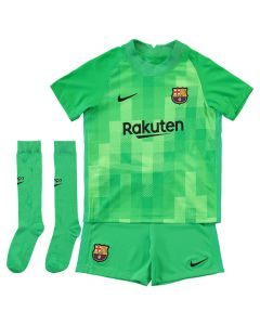 Front collective view of the Barca 21-22 kids away goalkeeper kit. Green with tonal pattern on jersey and black accents across the kit.