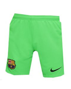 Front view of the Barca 21-22 kids away goalkeeper shorts. Bright green with black accents.