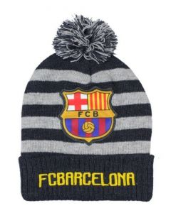 Barcelona Stripe Beanie Hat (Navy/Grey)