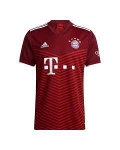 Front view of the Bayern Munich 21-22 kids home jersey. Dark red with bright red chevron pattern and white accents.