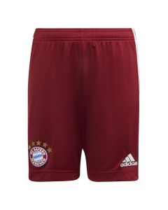 Front view of the Bayern 21-22 kids home shorts. Dark red with white accents.