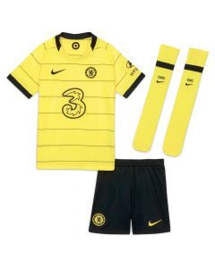Front collective view of the Chelsea kids away kit 21-22. Yellow with black accent jersey and socks. Black with yellow accent shorts.