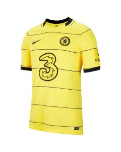 Front view of the Chelsea 21-22 junior away jersey. Yellow with black stripes and accents.