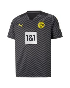 Front of the Borussia Dortmund 21-22 kids away shirt. Grey and black stripes with white and yellow accents.
