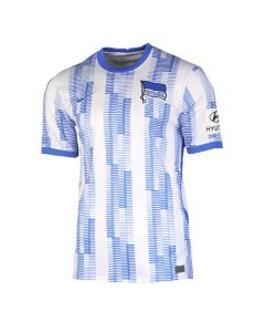 Front view of the Hertha Berlin 21-22 Home Jersey. White with blue striped pattern and woven accents.