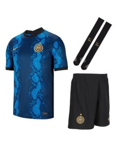 Front collective view of the Inter Milan 21-22 kids home kit. Tonal blue snake print jersey with gold Nike Swoosh and crest. Black shorts and socks with gold accents.