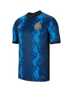 Front view of the Inter Milan 21/22 Home Shirt. Tonal blue snakeskin design with black and gold accents.