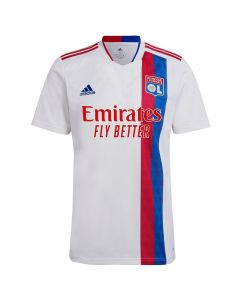 Front of the Olympique Lyonnais 21-22 Home Jersey. White with red and blue accents. Red and blue stripe on the left with lion detailing.