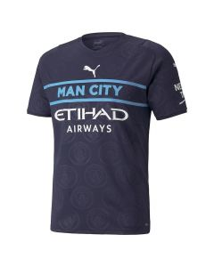 Front view of the Man City Third Jersey 21-22. Navy with subtle crest pattern and Man City blue banding across chest. Printed white sponsors and Puma logos.
