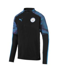 Man City 19/20 Quarter Zip Training Top Black