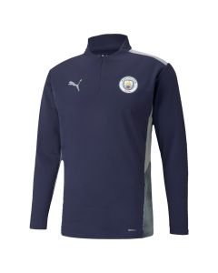 Front view of the New Manchester City 1/4 zip training top made by Puma, this top will be worn by the players during the 2021/22 football season.