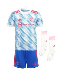 Front collective view of the Man Utd 21-22 away kit. Blue and white pattern jersey with red accents. Plain blue shorts with red accents. Plain white socks with red accent.
