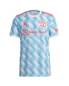 Front view of the Manchester United 21-22 kids away jersey. White with blue striped pattern and red accents.