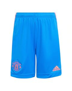 Front of the blue Manchester United kids away shorts 21-22 with red accents.