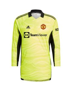 Front view of the Man Utd kids home goalie shirt 21-22. Fluorescent yellow with black accents.