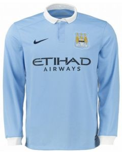 Manchester City Kids Long Sleeve Home Jersey 2015 - 2016