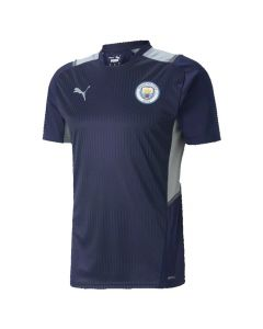 This is the new Manchester City navy kids training top front view.
