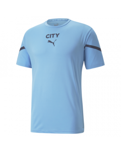 This is the front view of the Manchester City pre-match training jersey that the team will wear when training and prior to important football matches.