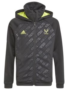 This is the Lionel Messi kids black hooded track top front view