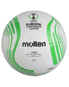 Front view of the new molten green and white Europa soccer ball.