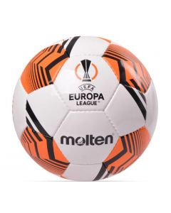 This is the Europa Molten orange and white football which will be used during football season 2021/22