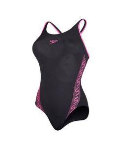 Speedo Girls Monogram Swimming Costume (Black/Pink)