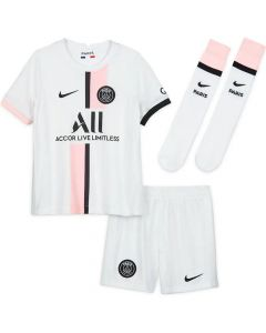Front collective view of the PSG 21-22 away kit. White kit with pink and black accents. Shirt, shorts and socks.