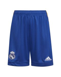 Front view of the Real Madrid 21-22 Junior Away Shorts. blue with white accents.