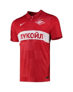 Front of the Spartak Moscow 21-22 Home Shirt. Red with tonal squared base and white accents. Polo neckline with buttoned placket.