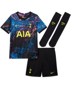 Front collective view of the Spurs 21-22 kids away kit. Purple and blue oil inspired jersey with green accents. Black shorts and socks with green accents.