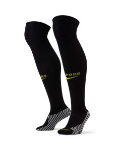 Front view of the Spurs 21-22 away kids socks. Black with fluorescent yellow SPURS wording and Nike Swoosh.