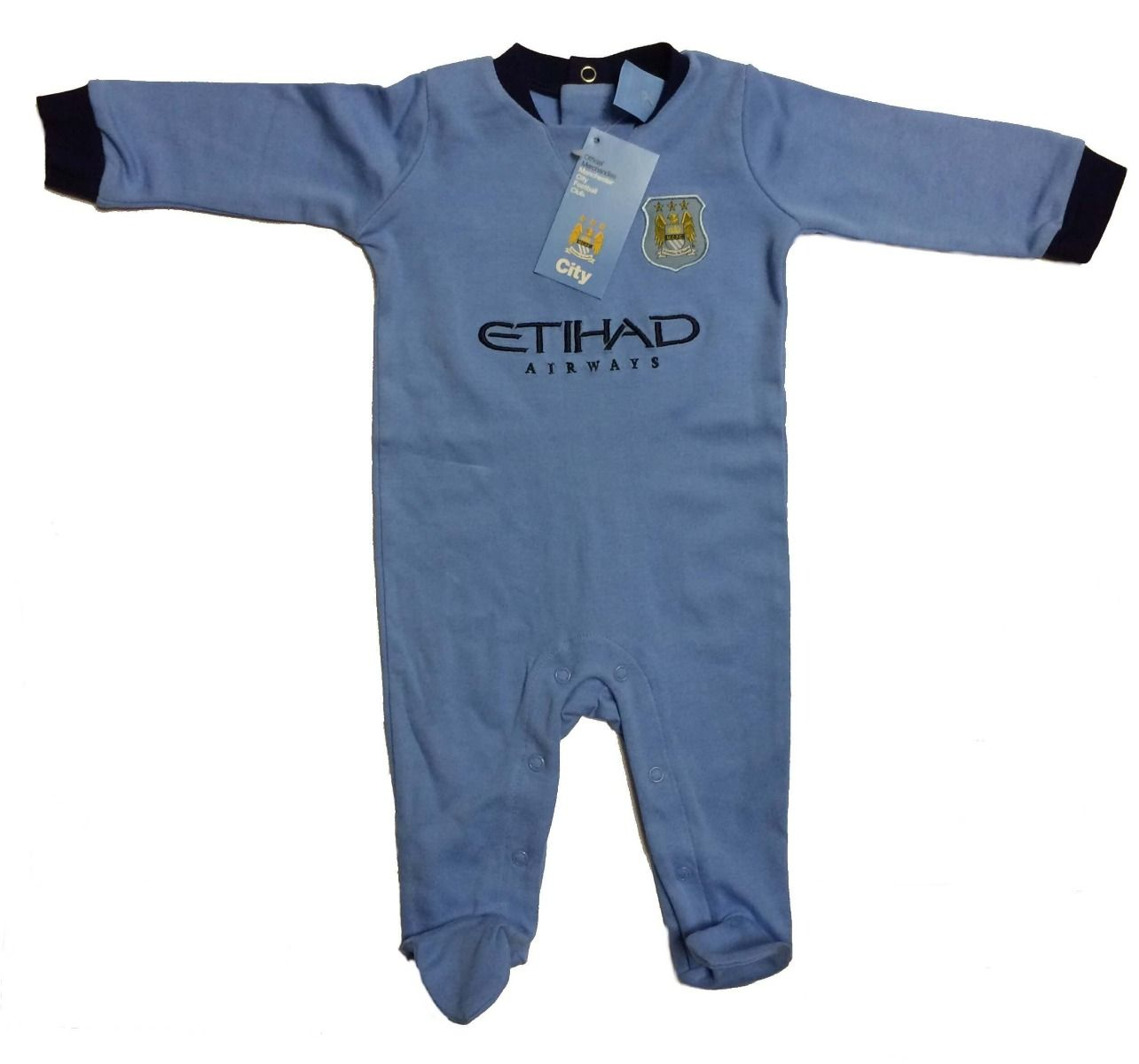 MANCHESTER CITY FC BABY VEST SET TWIN PACK SLEEPSUIT OFFICIAL PRODUCT 2017