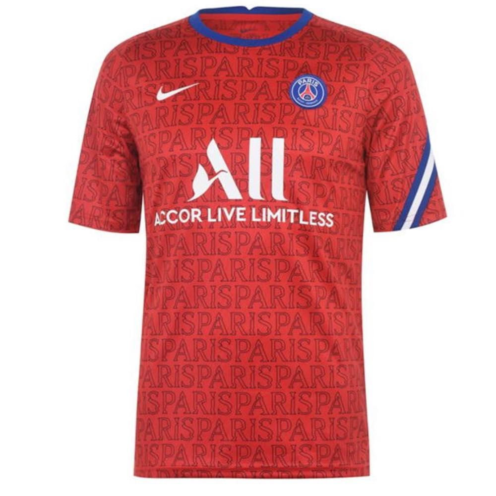 Official Nike Paris Saint Germain Red Pre Match Jersey 2020 21 In Stock Now