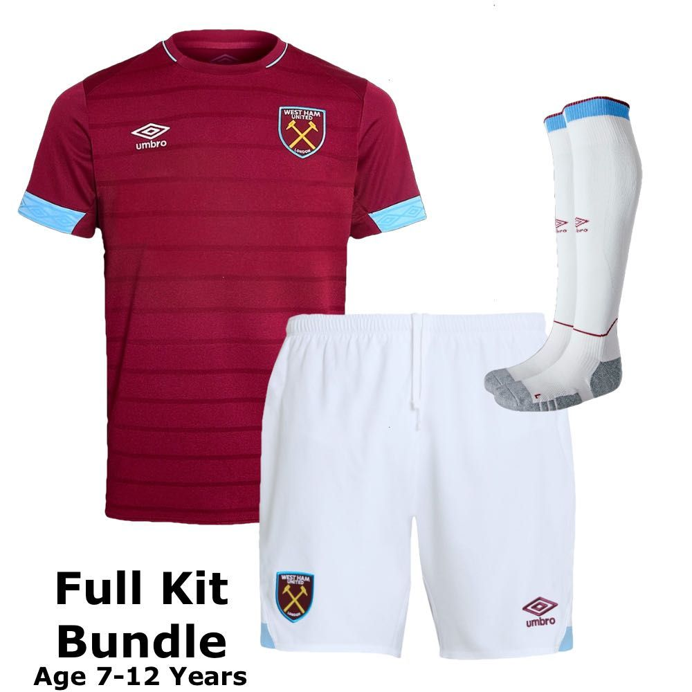 Umbro Baby West Ham United Home Sports Football Kit T Shirt Top Shorts 2019 2020