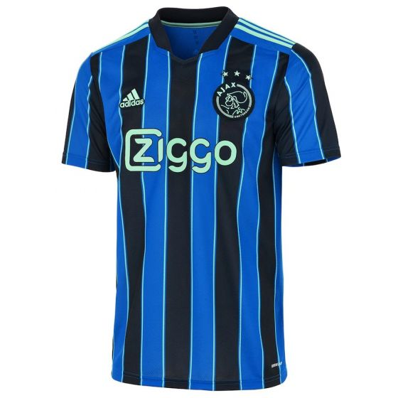Ajax Away Jersey 21-22 Black and blue stripes with teal accents