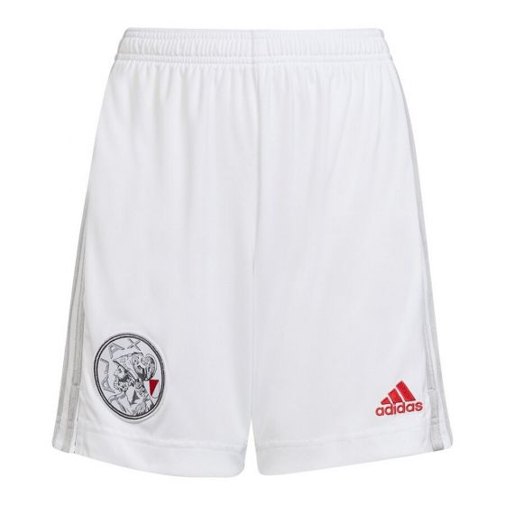 Front view of the Ajax 21-22 adults home shorts. Plain white with grey Adidas stripes down the leg. Red Adidas badge and retro club crest on the front.