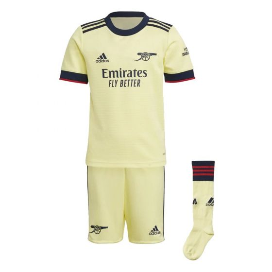 Arsenal 21-22 away kids kit. Shirt, shorts and socks view. Pale yellow with mainly navy accents and hint of red.