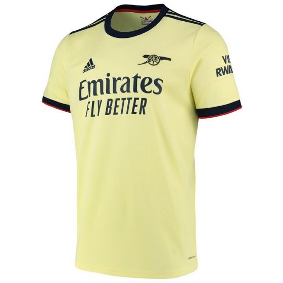 Front of the Arsenal away shirt 2021/22 for adults. Pale yellow colouring with navy sponsors, Adidas badge and stripes and Arsenal cannon emblem.